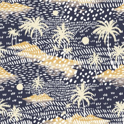Papiers peints Vintage seamless island pattern. Colorful summer tropical background. Yellow landscape with palm trees, beach and ocean. Flat design, vector. Good for textile, fabric, t-shirt, wallpaper, wrapping.