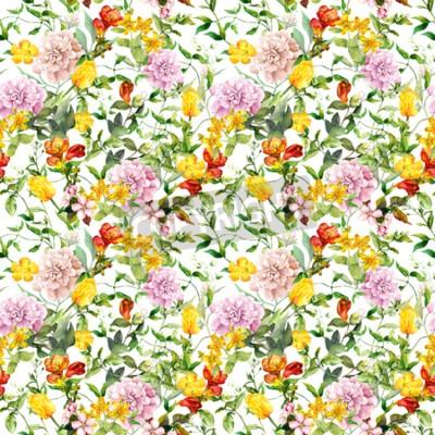 Papiers peints Vintage summer flowers, leaves, herbs. Repeating floral background. Watercolor