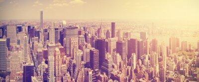 Papiers peints Vintage tonique Manhattan skyline au coucher du soleil, NYC, Etats-Unis.