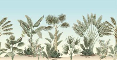 Papiers peints Vintage tropical palm tree, banana tree, plant floral border blue background. Exotic jungle wallpaper.