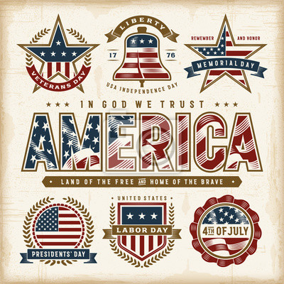 Papiers peints Vintage USA Patriotic Holidays Labels Set. Editable EPS10 vector illustration in retro woodcut style with transparency.