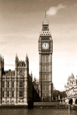Papiers peints Vintage vue de Big Ben horloge tour à Londres. Sépia.