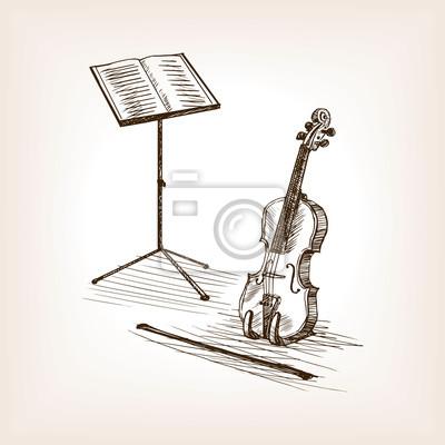 Violon, arc, musique, stand, main, dessiné, croquis, vecteur