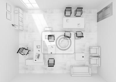 Vip bureau meubles haut vue grille 3d rendering papier peint