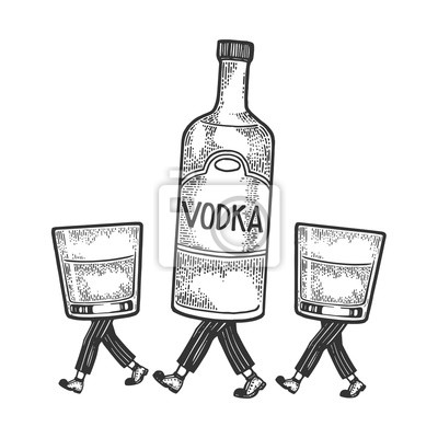Vodka alcohol bottle with ice and glasses walks on its feet sketch engraving vector illustration. Scratch board style imitation. Black and white hand drawn image.