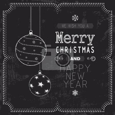 Voeux de Noël et Nouvel An carte sur tableau noir