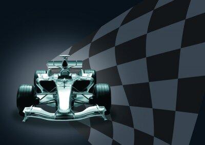 Papiers peints voiture de Formule 1 et le drapeau