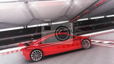 voiture de sport rouge passe par la vue de côté de la finition, illustration 3D de la voiture de sport de course