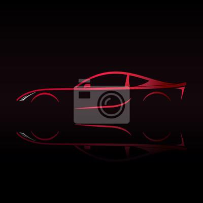 Voiture De Sport Rouge Silhouette Sur Fond Noir Illustration