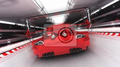 voiture de sport rouge sur circuit de course, voiture de sport rendant l'illustration 3D