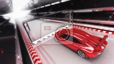 voiture de sport rouge traverse la ligne d'arrivée, course voiture de sport rendant l'illustration 3D