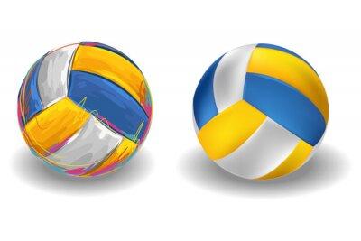 Papiers peints Volley-ball isolé sur fond blanc. Tous les éléments sont dans des couches séparées et regroupées.