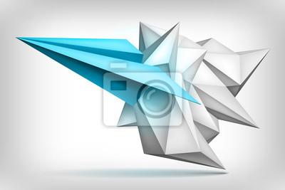 Volume De Forme Géométrique Avion Bleu à Lintérieur Cristal Papier