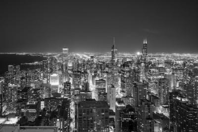Papiers peints Vue aérienne des toits du centre-ville de Chicago au coucher du soleil d'en haut.