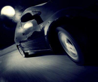 Papiers peints Vue de côté de la voiture noire à son tour