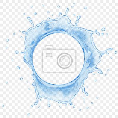 Papiers peints Vue de dessus de la couronne d'eau translucide avec des gouttes de couleurs bleus, isolé sur fond transparent. Transparence uniquement dans le fichier vectoriel
