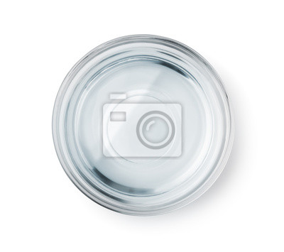 Papiers peints Vue de dessus du bol en verre à l'eau claire