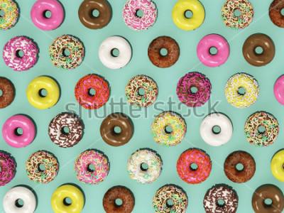 Papiers peints Vue de dessus Set motif coloré Donuts sur fond vert, rendu 3d Donuts