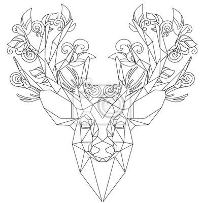 Vue De Face De Licone Triangulaire De Tete Danimal Dessin Papier
