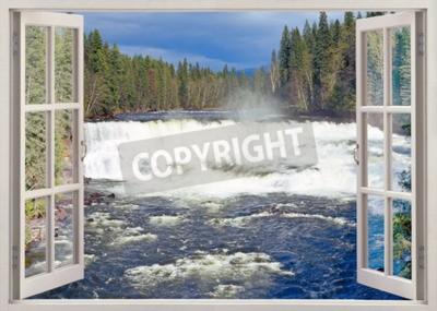 Papiers peints Vue de la fenêtre ouverte vers Dawson Falls, Murtle River, Parc provincial Wells Gray, Colombie-Britannique, Canada