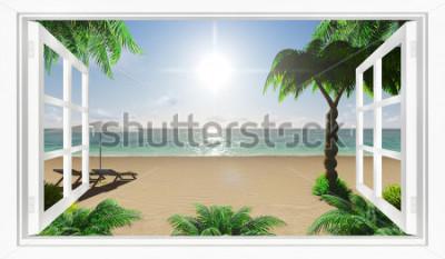Papiers peints Vue de la plage tropicale sur la mer depuis la fenêtre