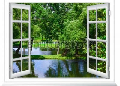 Papiers peints vue depuis la fenêtre dans l'étendue d'eau et l'arbre en été