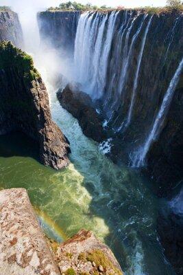 Papiers peints Vue des chutes Victoria depuis le sol. Parc national de Mosi-oa-Tunya. Et site du patrimoine mondial. Zambiya. Zimbabwe. Une excellente illustration.