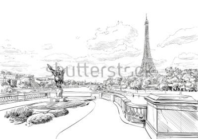 Papiers peints Vue du pont Le Pont de Bir-Hakeim à la Tour Eiffel. Paris, France. Croquis urbain. Illustration vectorielle dessinés à la main