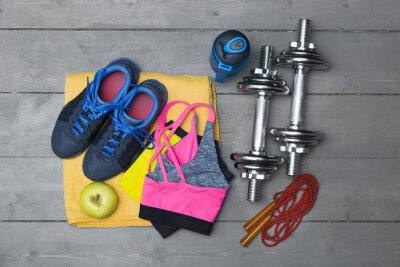 Papiers peints Vue, haut, coloré, Fitness, équipement, bois, plancher