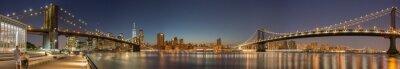 Papiers peints Vue panoramique de Manhattan Bridge, le pont de Brooklyn et Manhattan Skyline de nuit