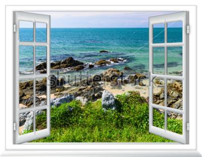 Papiers peints vue sur la mer depuis la fenêtre sur l'île de journée d'été ensoleillée