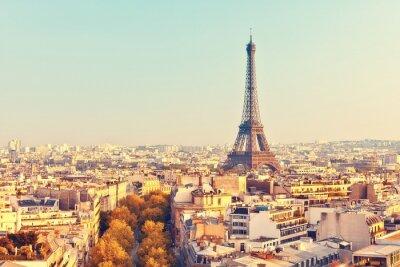 Papiers peints Vue sur la tour Eiffel au coucher du soleil
