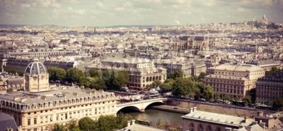 Papiers peints Vue sur Paris de la cathédrale Notre-Dame. Image filtrée style Instagram