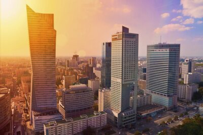 Papiers peints Warsaw downtown - aerial photo of modern skyscrapers at sunset