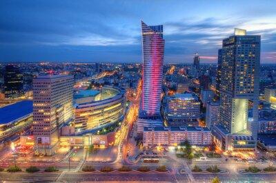 Papiers peints Warszawa wieczorna panorama miasta