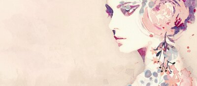 Papiers peints Watercolor abstract portrait of girl. Fashion background.