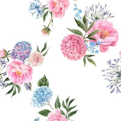Papiers peints Watercolor floral bouquet seamless vector pattern