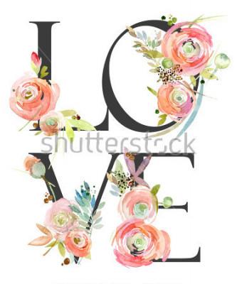 Papiers peints watercolor flower background. love