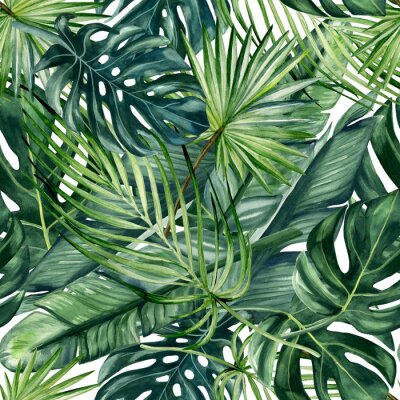 Papiers peints Watercolor hand painted seamless pattern with green tropical leaves of monstera, banana tree and palm on white  background.