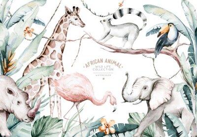 Papiers peints Watercolor illustration of African Animals: lemur, flamingo and giraffe, toucan and rhipo, rhino and elephant isolated white background. Safari savannah animals