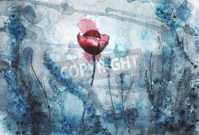 Papiers peints watercolor illustration. red poppy flower