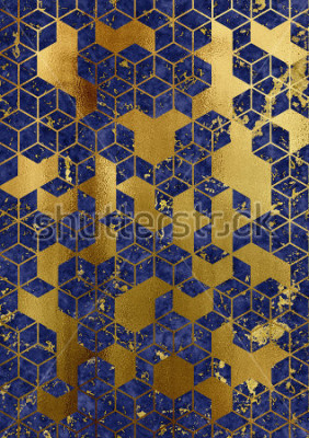 Papiers peints Watercolor marble background with geometric cube pattern.