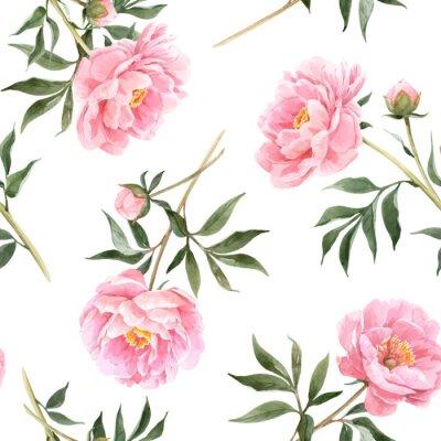 Papiers peints Watercolor peony seamless vector pattern