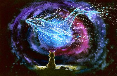 Papiers peints Watercolor picture of a cat and whale constellation