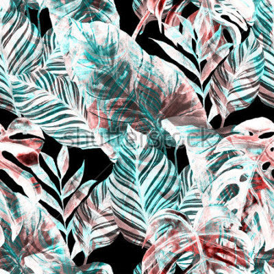 Papiers peints Watercolor seamless pattern with tropical leaves: palms, monstera, passion fruit. Beautiful allover print with hand drawn exotic plants. Swimwear botanical design.