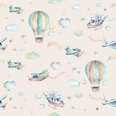Papiers peints Watercolor set background illustration of a cute cartoon and fancy sky scene complete with airplanes, helicopters, plane and balloons, clouds. Boy seamless pattern. It's a baby shower design