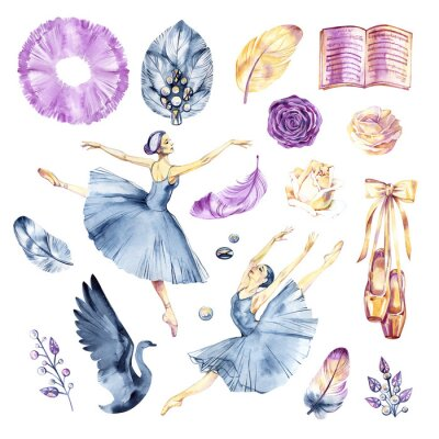 Papiers peints Watercolor sketch. Ballet accessories, pointes and skirt. Print elements.