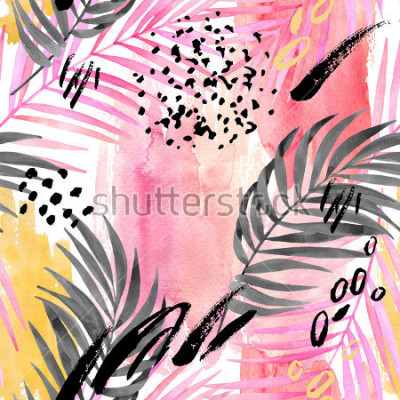 Papiers peints Watercolor tropical leaves seamless pattern. Watercolour pink colored and graphic palm leaf painting with minimal elements on color stains background. Hand painted art illustration for summer design.