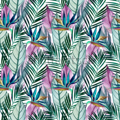 Papiers peints Watercolor tropical seamless pattern with bird-of-paradise flower, palm leaves. Exotic flowers, leaves on light background. Hand painted natural illustration