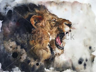 Papiers peints Watercolour painting of lion
